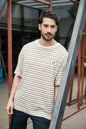 Sateen Men Erkek Bej Çizgili T-Shirt