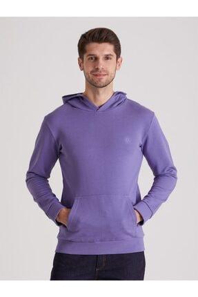 Dufy Mor Düz Kapüşonlu Erkek Sweatshırt - Regular Fıt