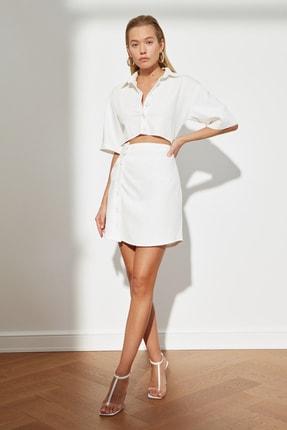TRENDYOLMİLLA Ekru Bel Detaylı Düğmeli Elbise TWOSS21EL1780
