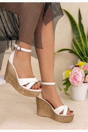 ESPARDİLE Kadın Beyaz Cilt Dolgu Topuk Sandalet