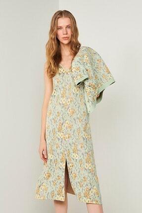 JOIN US Önü Ve Arkası V Çiçek Desenli Triko Elbise-yeşil