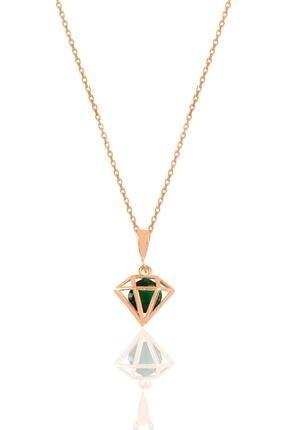 Söğütlü Silver Gümüş Rose Yeşil Taşlı Elmas Modeli Kolye