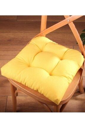 ALTINPAMUK Lüx Pofidik Sarı Sandalye Minderi Özel Dikişli Bağcıklı 40x40cm