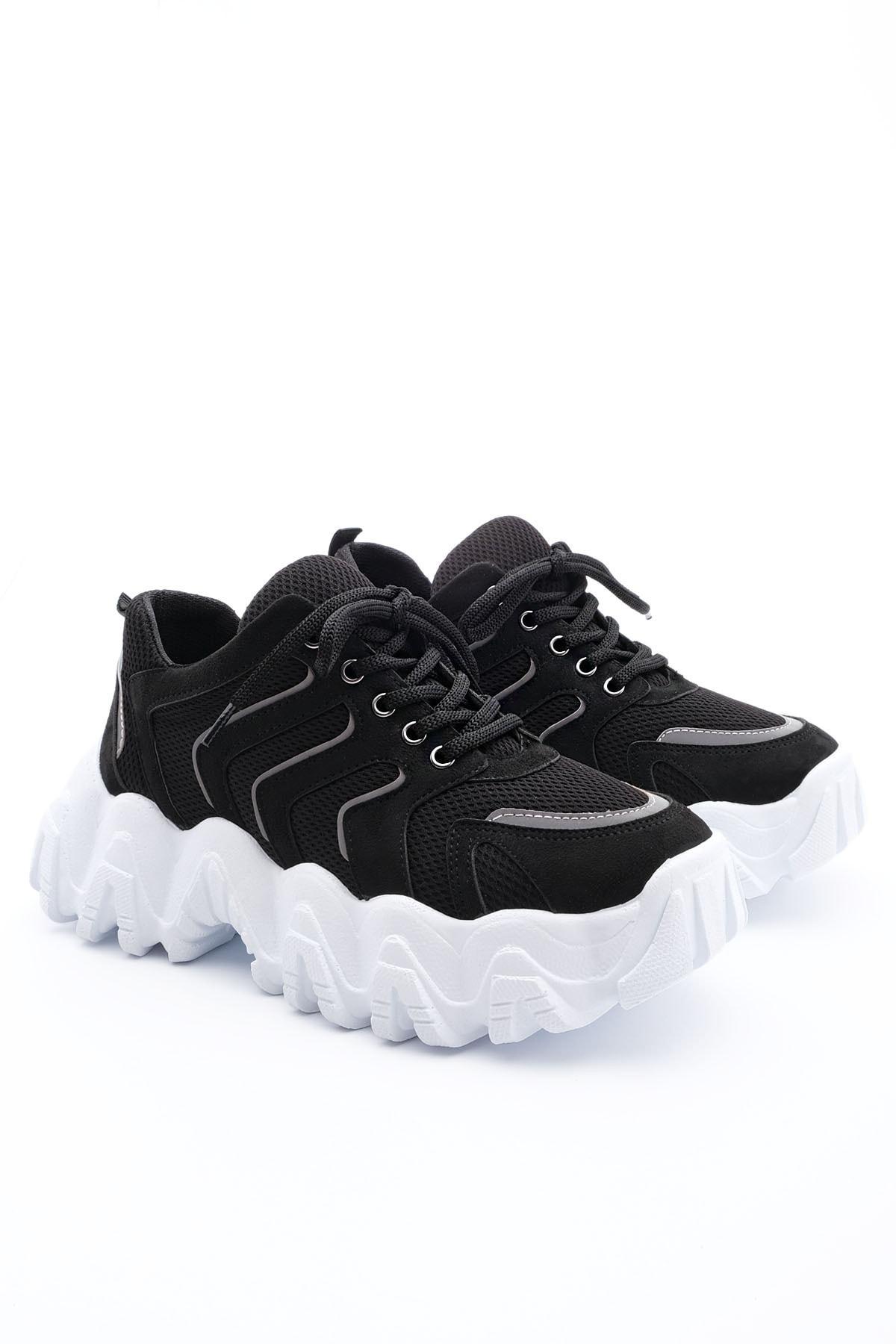 Marjin Kadın Siyah Sneaker Dolgu Topuk Spor Ayakkabı Santa 1