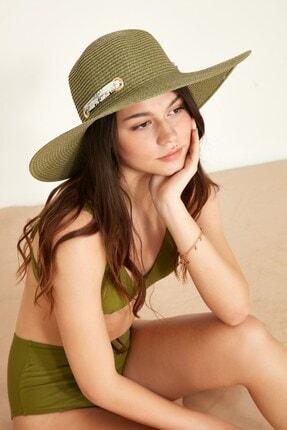 C&City Kadın Hasır Plaj Şapkası Y1730-03 Zeytin Yeşil