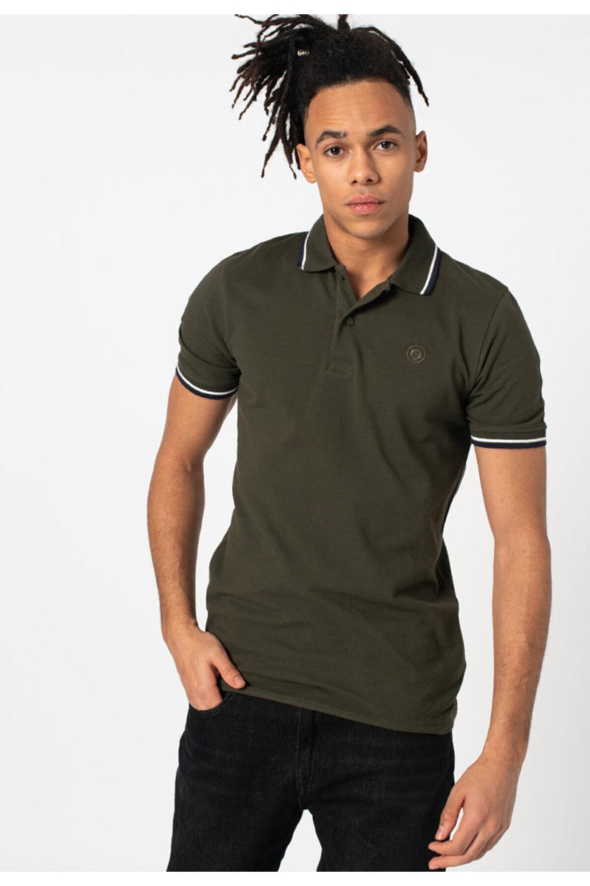 Jack & Jones Erkek Haki Basic Kısa Polo Yaka T-shirt 1