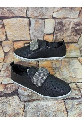 Markopark Kadın Siyah  Cırtlı Taşlı Ayakkabı