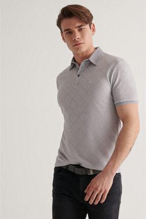 Avva Erkek Gri Polo Yaka Jakarlı T-shirt A11y1136