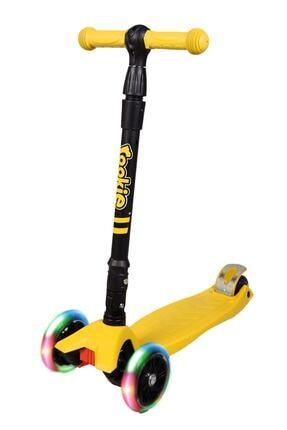 Rookie Unisex Çocuk Sarı Katlanabilir 3 Tekerlekli Işıklı Maxi Scooter