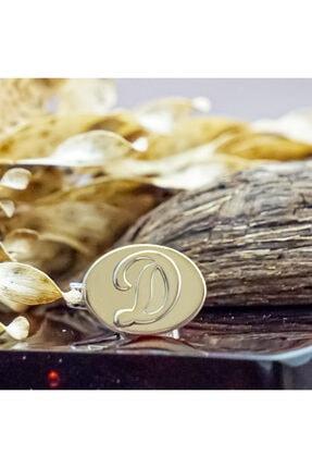 Naz Gümüş Tabaka Üzerine Kabartmalı Harf Oturtturma 925 Ayar Gümüş Kol Düğmesi