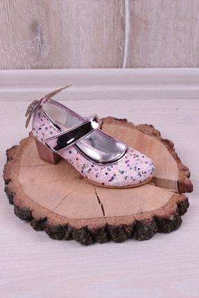 Kidya Cam Kırığı Taş Işlemeli Kelebek Figürlü Topuklu Kız Çocuk Ayakkabı Lila