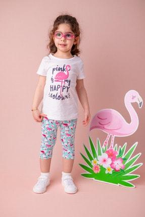 Zeyland Beyaz Flamingo Desenli T-shirt (9AY-4YAŞ)