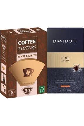 Davidoff Fine Aroma Filtre Kahve 250 gr & Coffee Filters Filtre Kahve Kağıdı No:4 80 Adet