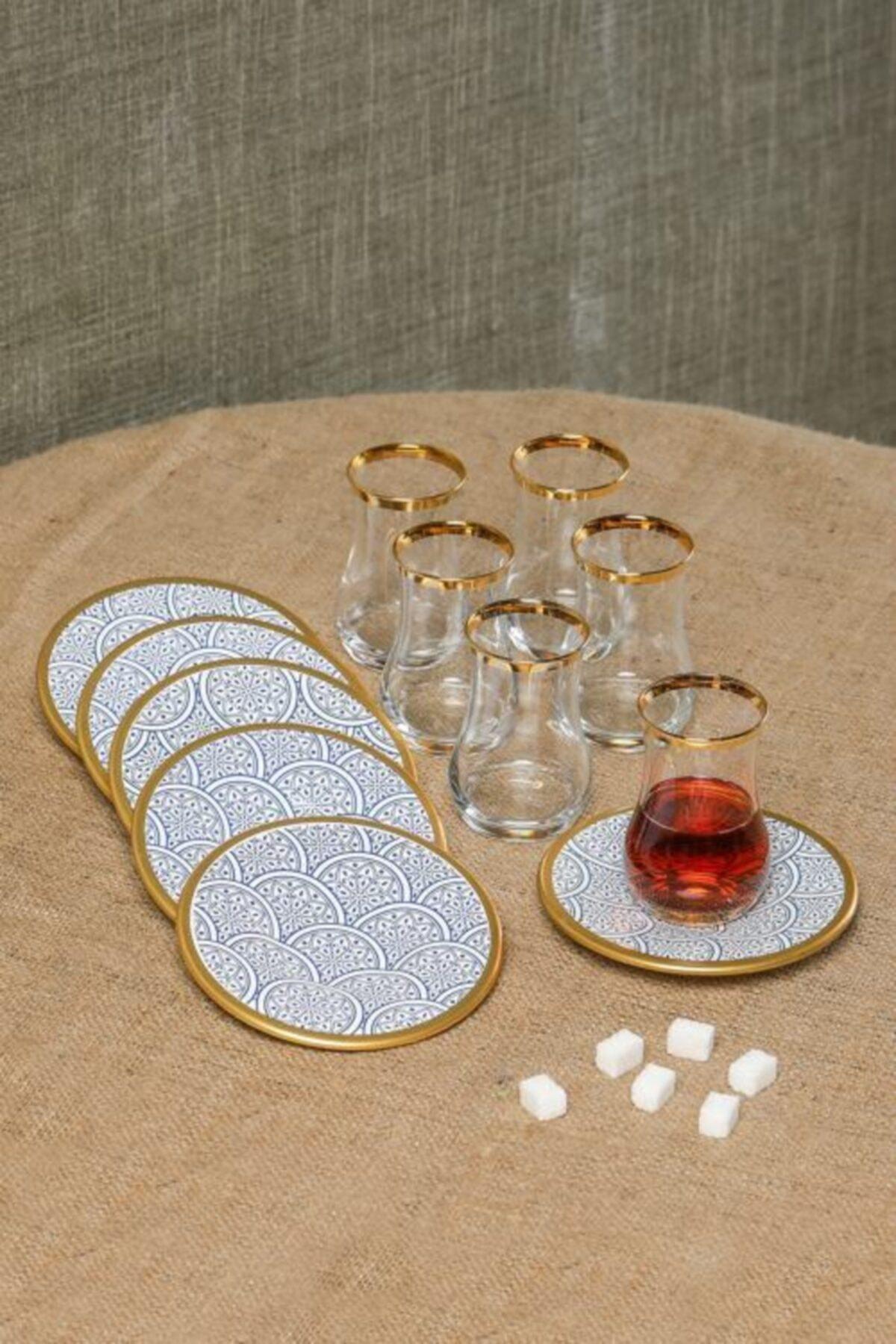 Cooker Dekorlu 12 Parça Çay Bardağı Takımı Seti Cay-takimi Ckr2691-beyaz 1