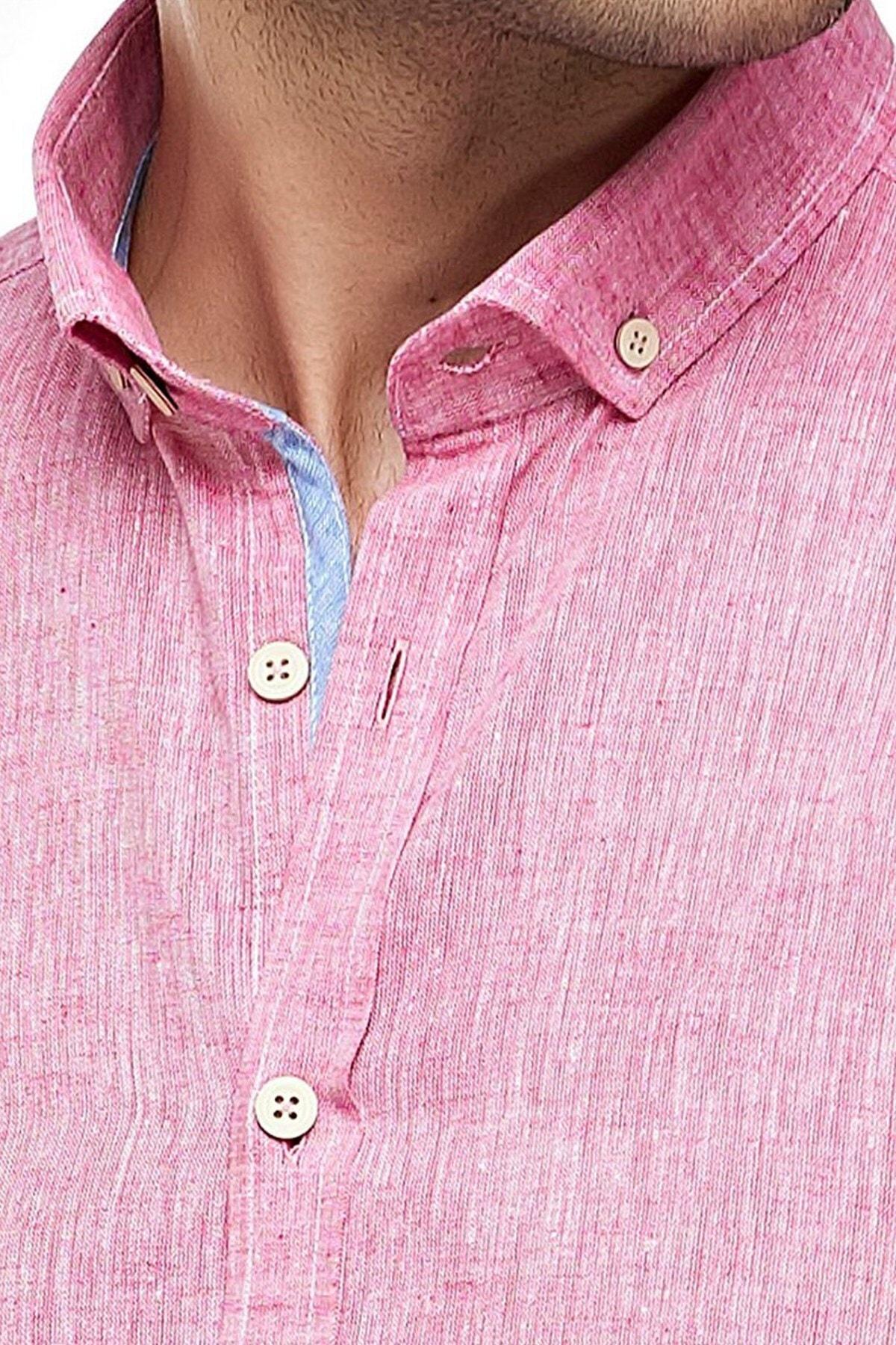 Ottomoda Kısa Kollu Keten Gömlek Pink 2