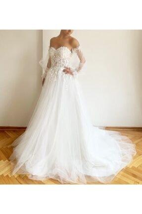 Lilyums Haute Couture&Design Straplez Yaka Balon Kol Kırık Beyaz Helen Gelinlik