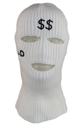 zirve şapka Kışlık Unisex 3 Gözlü Kar Maskesi Beyaz