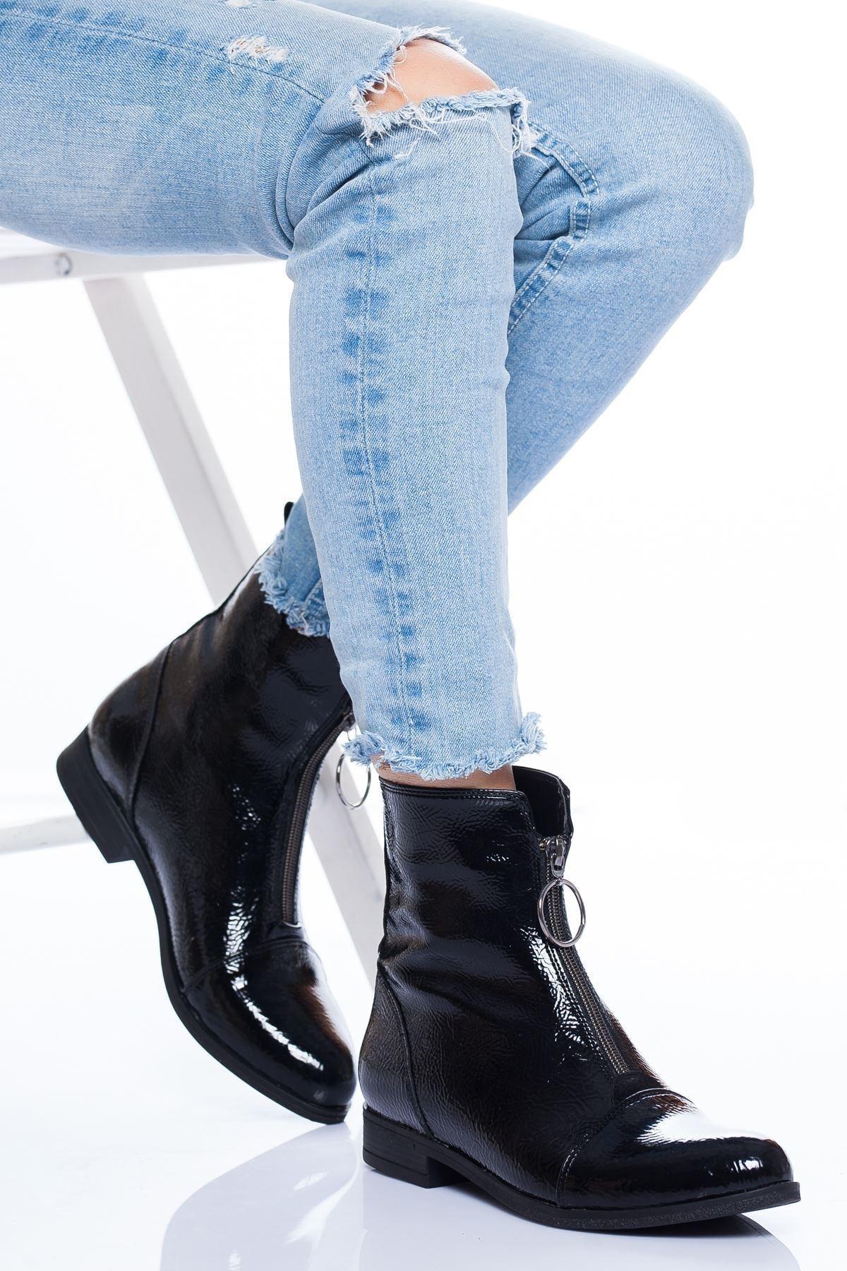 derithy Kadın Siyah Garni Bot Carey abn1501 1