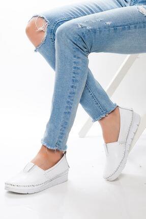 derithy Kadın Beyaz Hakiki Deri Casual Ayakkabı