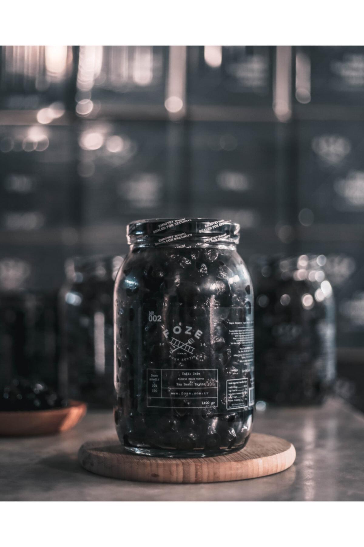 Foze Taş Baskı Doğal Yağlı Sele Siyah Salamura Zeytin 1400 gr 1