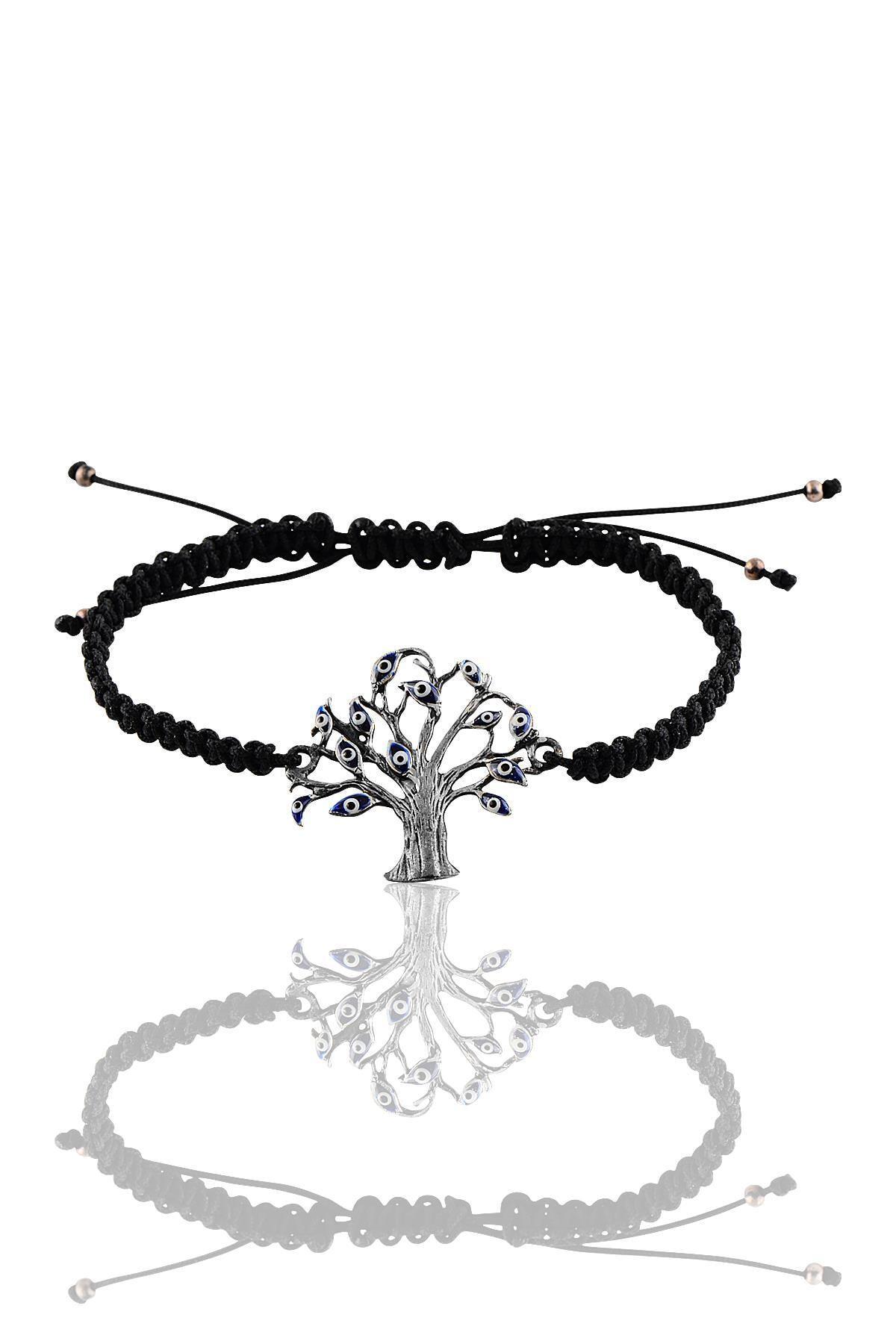 Söğütlü Silver Gümüş Lacivert Mineli Nazar Ağacı Bileklik