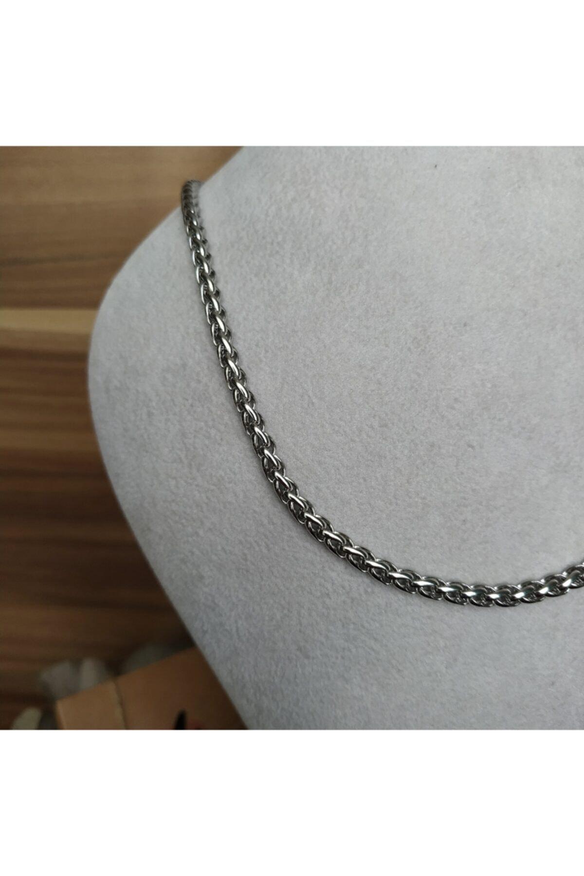 Mammamia 50cm Ally 4mm Silver Halat Örgü Zincir Çelik Kolye 2