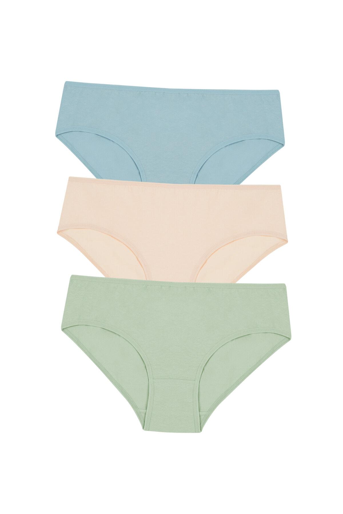 Penti Kadın Çok Renkli Cover Colors Pure 3Lü Slip Külot