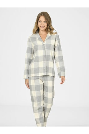 NBB Ekose Önden Düğmeli Kadın Pijama Takımı 67014