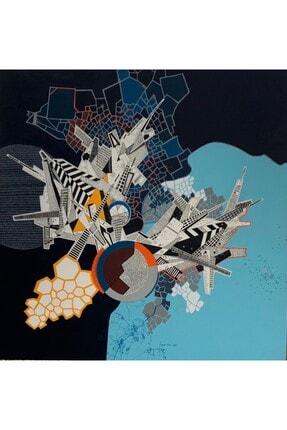 artoloji MELEK YÜKSEK ATİK -Karanlıkta Göç - Tuval üzerine akrilik boya ve mürekkep, 112x112cm.