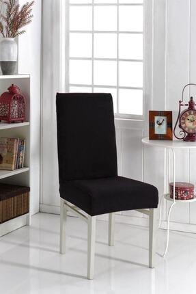 KARAHANLI Sandalye Kılıfı Likralı Siyah Renk Yıkanabilir Lastikli Sandalye Örtü