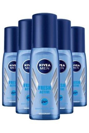 Nivea Deodorant Erkek Fresh Active Pump Sprey 75 ml X5