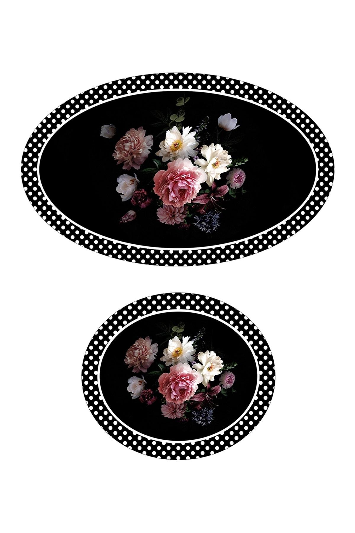 colizon 60x90 - 50x60 Rose&Black Banyo Halısı Oval Klozet Takımı 2'li Paspas Seti 2