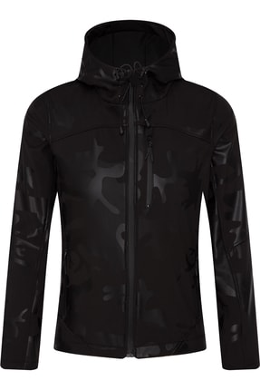 GHASSY CO. Erkek  Siyah Yelkenli Gizli Kamuflaj Rainproof/windproof Softshell Mont