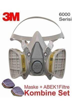 3M 6200 Gaz Maskesi + Abek1 Filtre Dahil Kombine Set