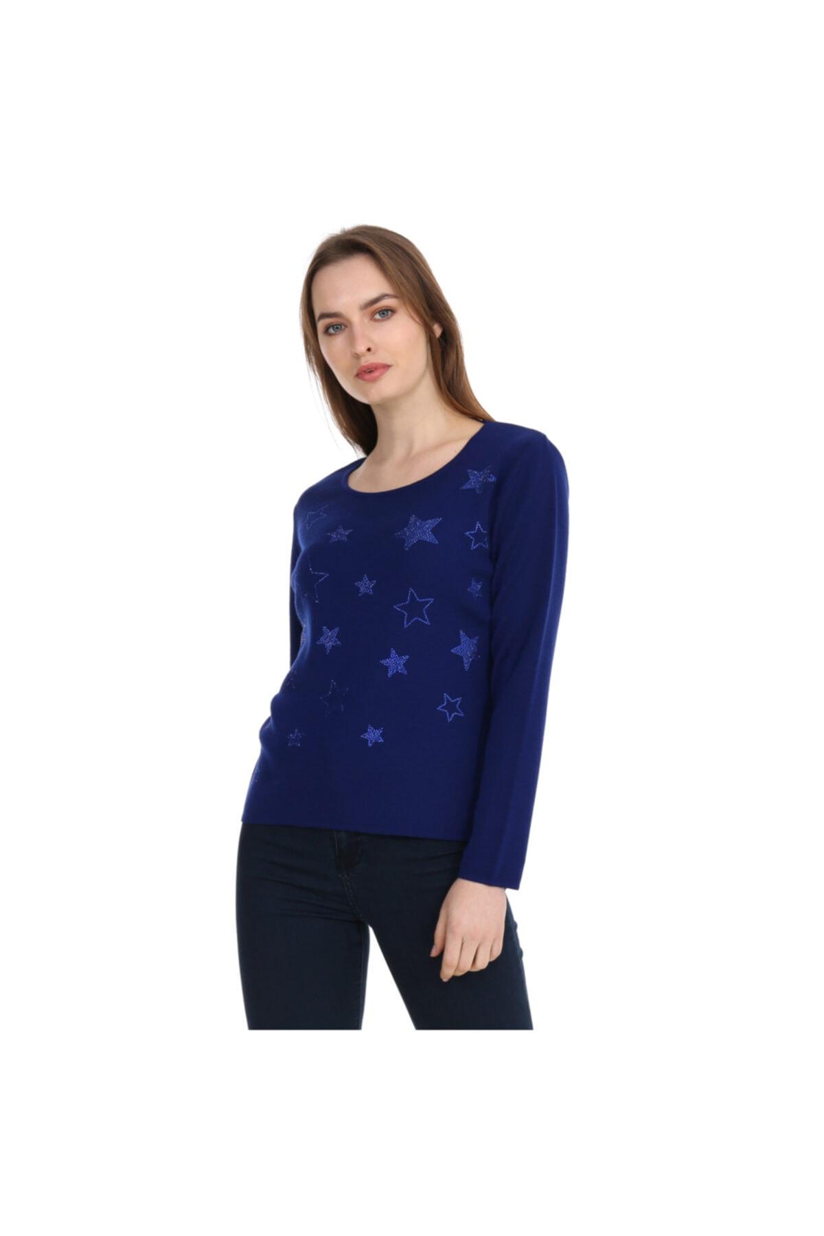 Solo Kristal Taş Hotfix Yıldız Işlemeli Bluz Italyan Yün 1