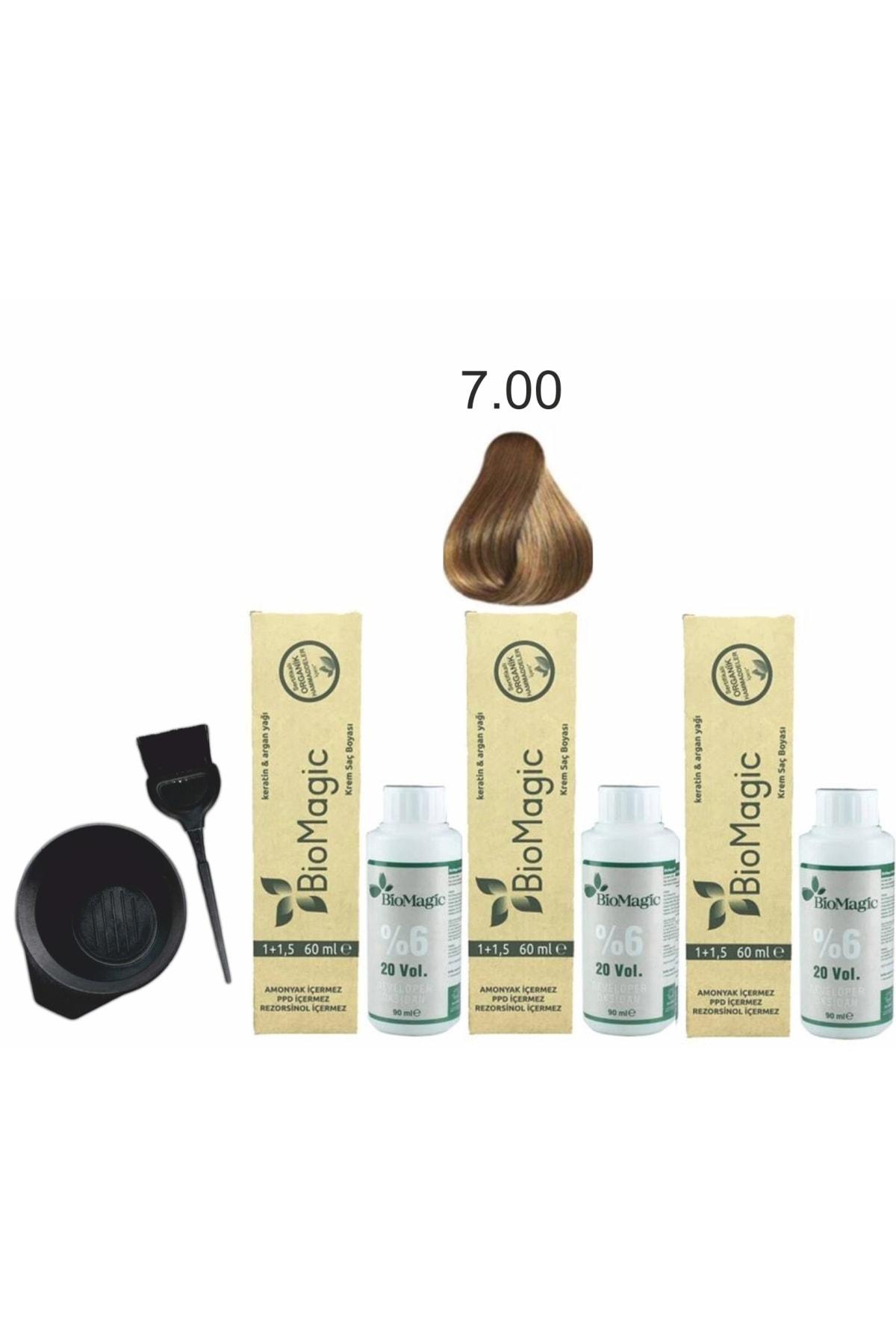 BIOMAGIC Organik Keratin+argan'lı Saç Boyası 7.00 Kumral 60ml X3 Adet+oksidan 90ml+boyama Seti 1