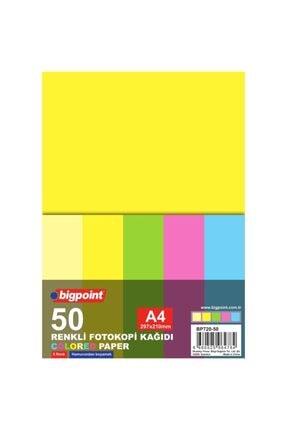 Bigpoint A4 Renkli Fotokopi Kağıdı 5 Renk 50'li Paket