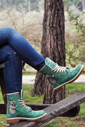Dogo Kadın Yeşil Çok Renkli Bot DGS014-LB008