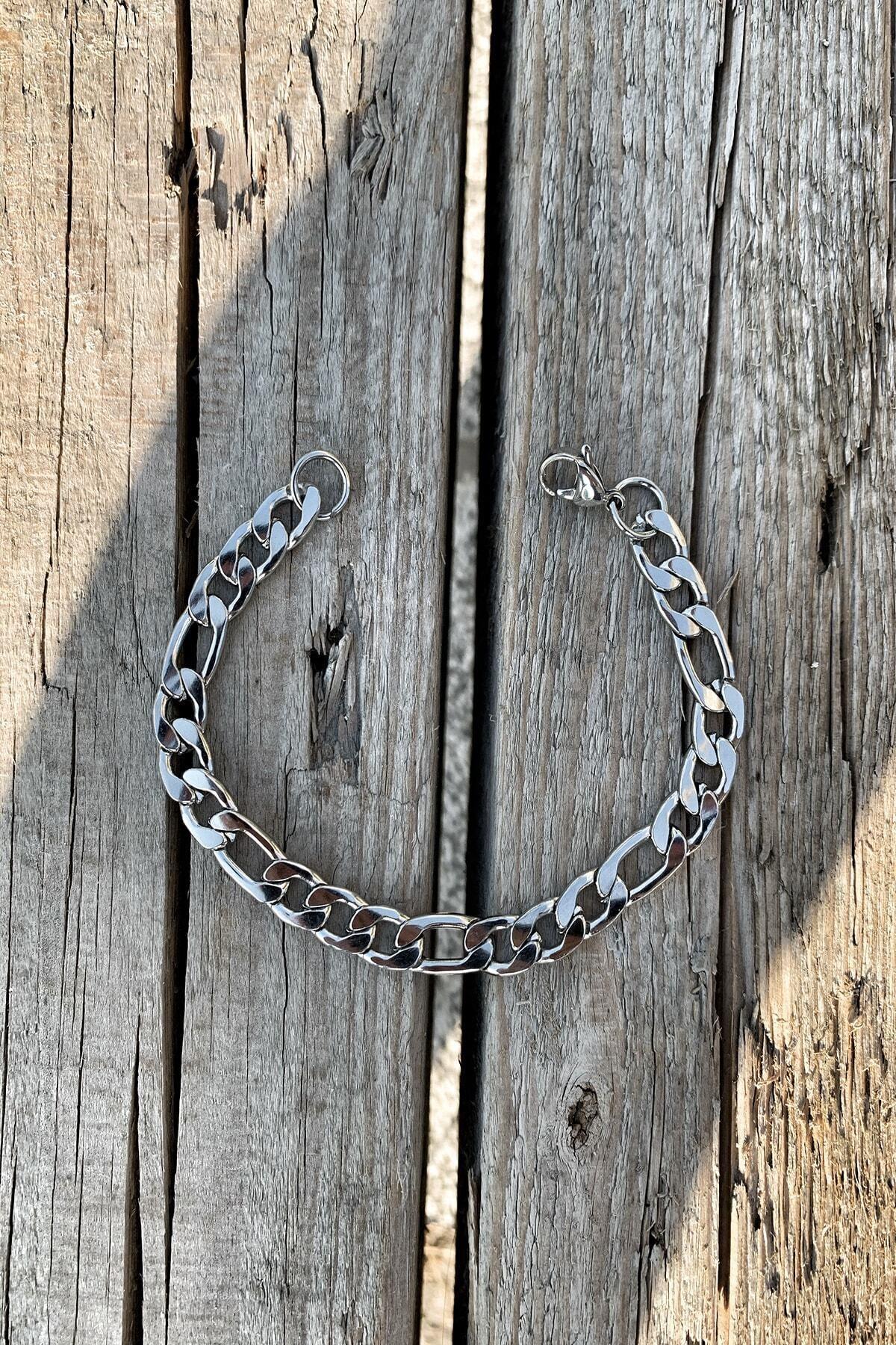 TAKIKRALI Unisex Aralıklı Figaro Silver Çelik Bileklik 1