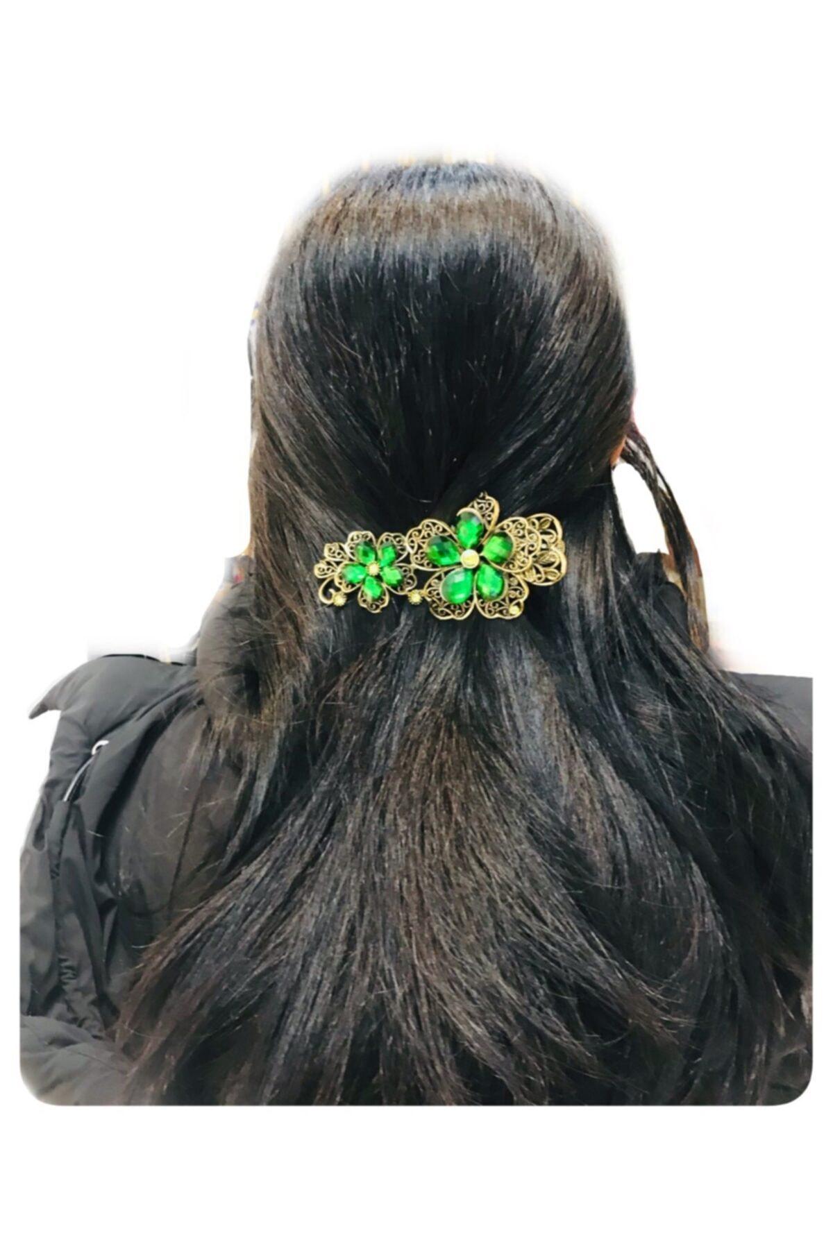 Mima Kristal Taşlı Çiçekli Otantik Metal Yeşil Toka 1