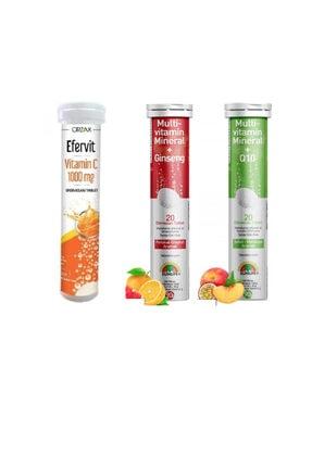 Sunlife Multivitamin&mineral+ginseng 20 Tablet+koenzim Q10 20 Tablet+ocean Efervit C Vitamini 20 Tablet