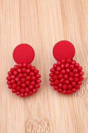 Pisi Butik Kadın Kırmızı Kristalli Tasarım Düğme Küpe