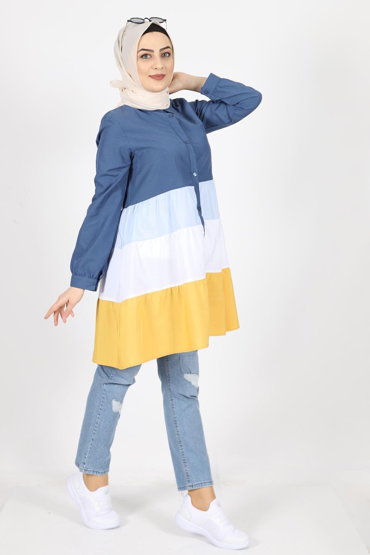 kombinal Kadın Lacivert Terikoton Kumaş Gömlek Tunik 7101 2