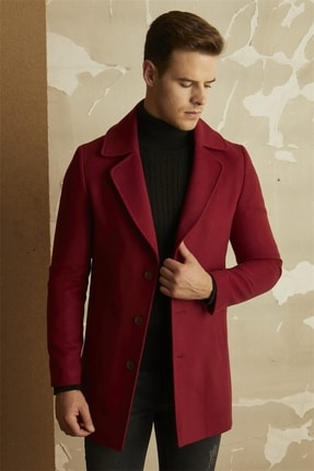 Efor Erkek Bordo Slim Fit Klasik Palto Plt 063