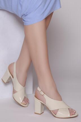Deripabuc Hakiki Deri Bej Kadın Topuklu Deri Ayakkabı Shn-0100