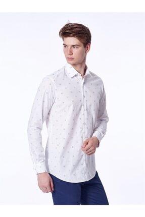 Dufy Beyaz Bej Kare Desenli Ince Dokuma Erkek Gömlek - Slım Fıt
