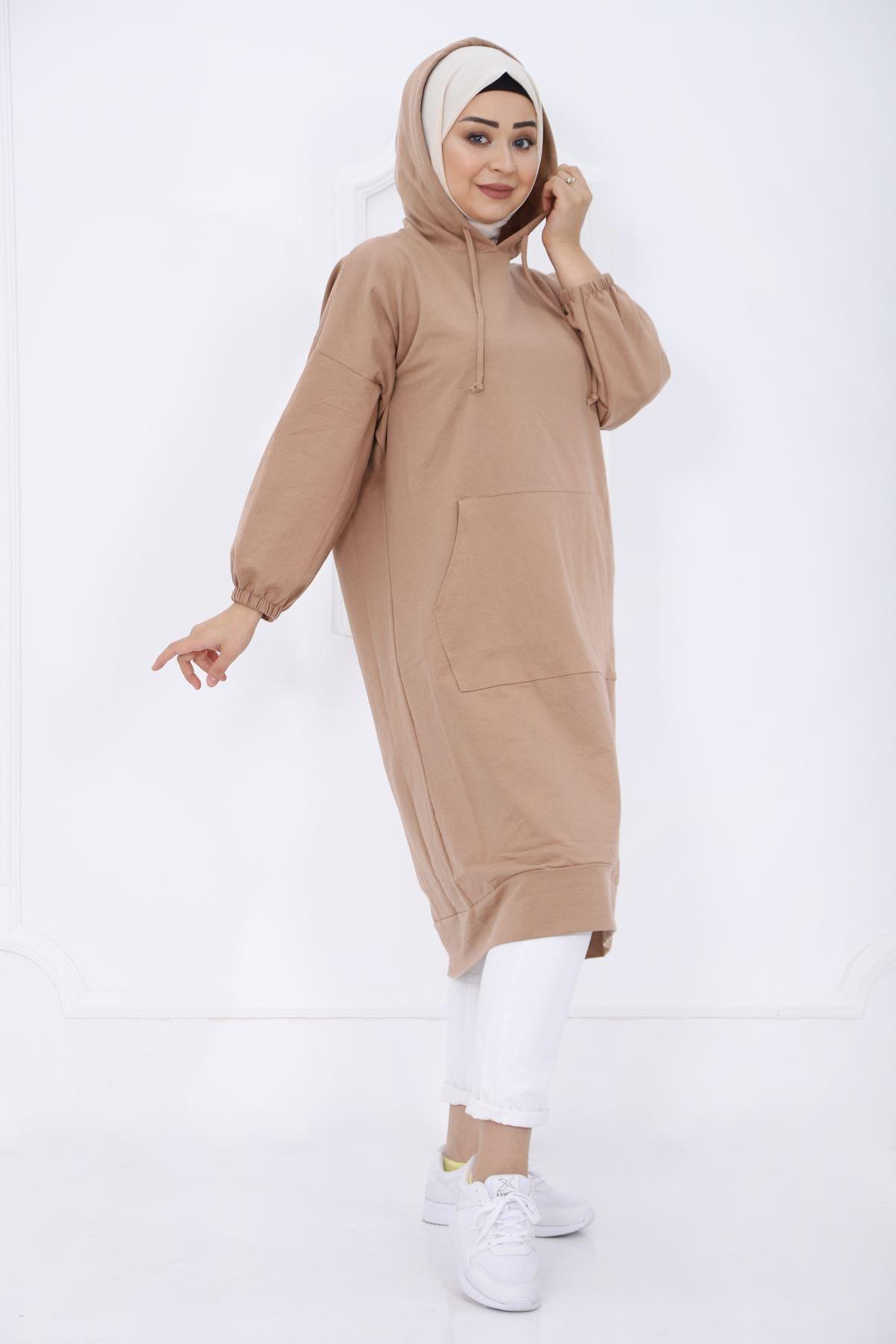 kombinal Kadın Kahverengi Cep Detaylı Kapüşonlu Sweat Tunik 2345 1 2