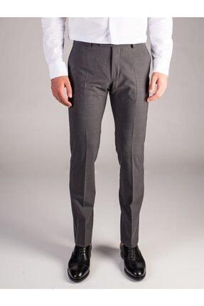 Dufy Gri Melanj Düz Bez Ayağı Dokuma Kumaş Erkek Pantolon - Regular Fıt