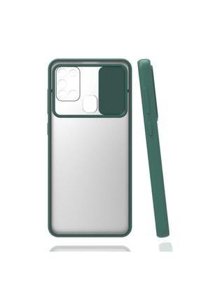 zore Samsung Galaxy A21s Uyumlu Kılıf Buzlu Kamera Lens Sürgülü Korumalı Renkli Silikon Kapak