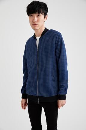 DeFacto Bomber Slim Fit Desenli Fermuarlı Sweatshirt